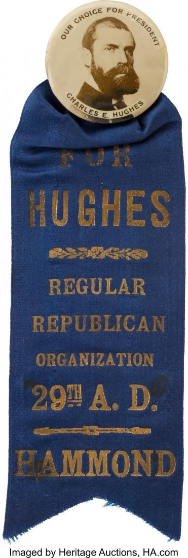 43519: Charles Evans Hughes: Large Real Photo Button wi