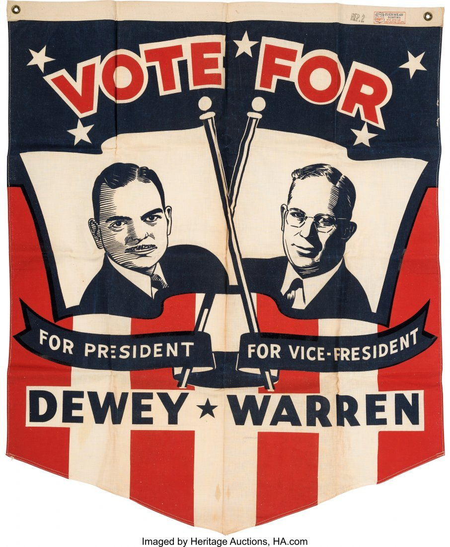 43612: Dewey & Warren: Rare Jugate Headquarters Banner.