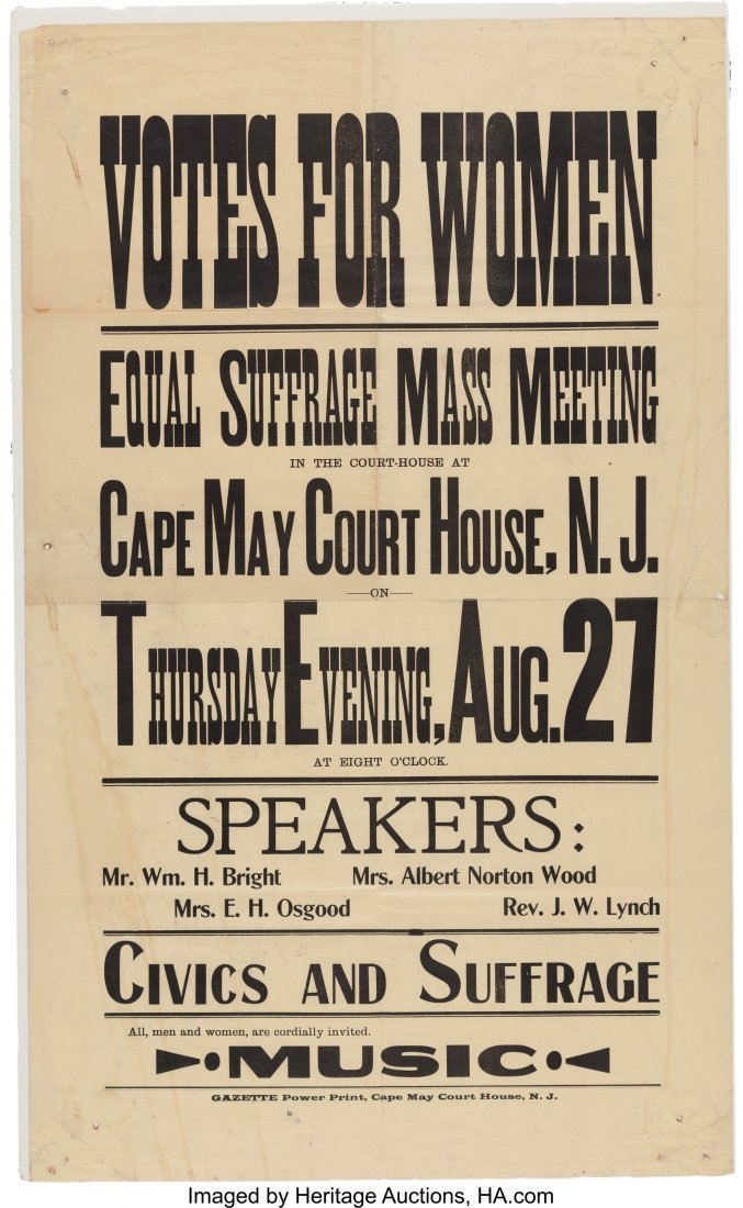 43525: Woman's Suffrage: New Jersey Meeting Broadside o
