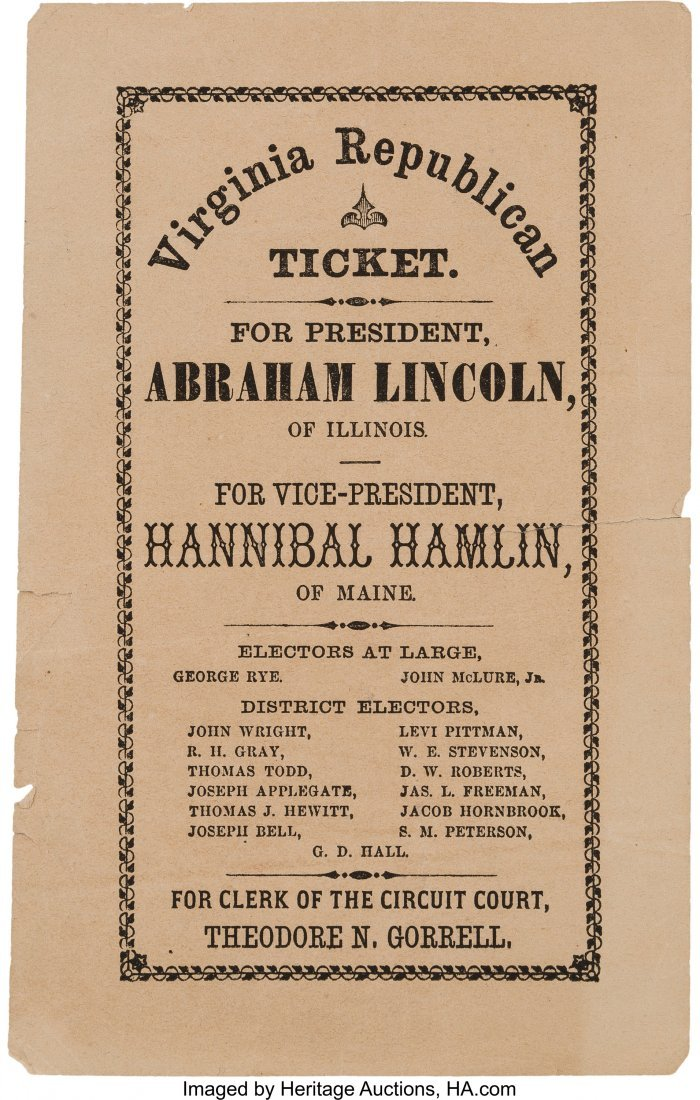 43187: Abraham Lincoln: A Very Rare Virginia Electoral