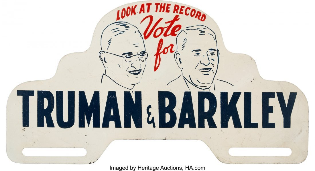 43621: Truman & Barkley: An Extremely Rare Jugate Licen