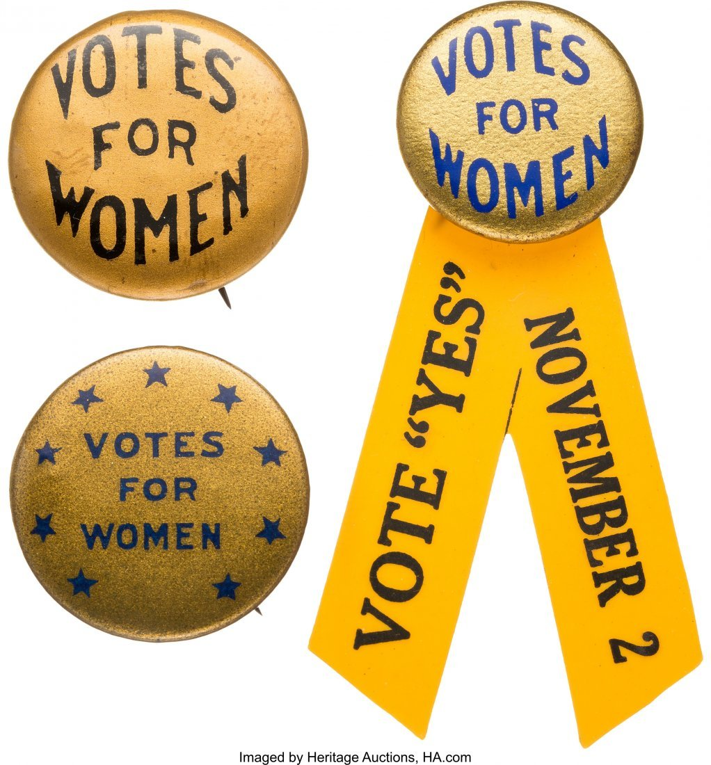 "43532: Woman's Suffrage: Trio of Gold Background ""Votes"