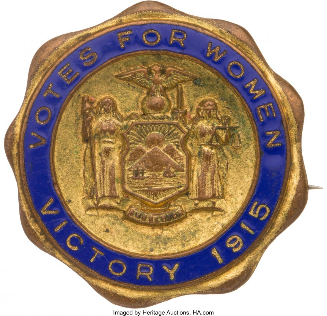 43533: Woman's Suffrage: Brass and Enamel New York Elec