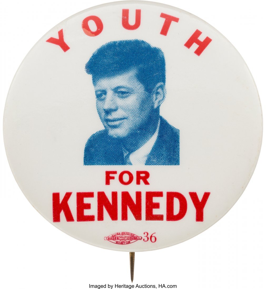 "43635: John F. Kennedy: Rare 2 1/8"" ""Youth For Kennedy"""
