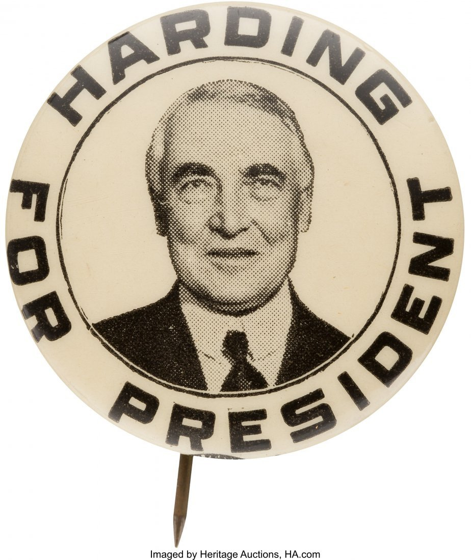 43542: Warren G. Harding: Smiling Portrait Button.  Unu