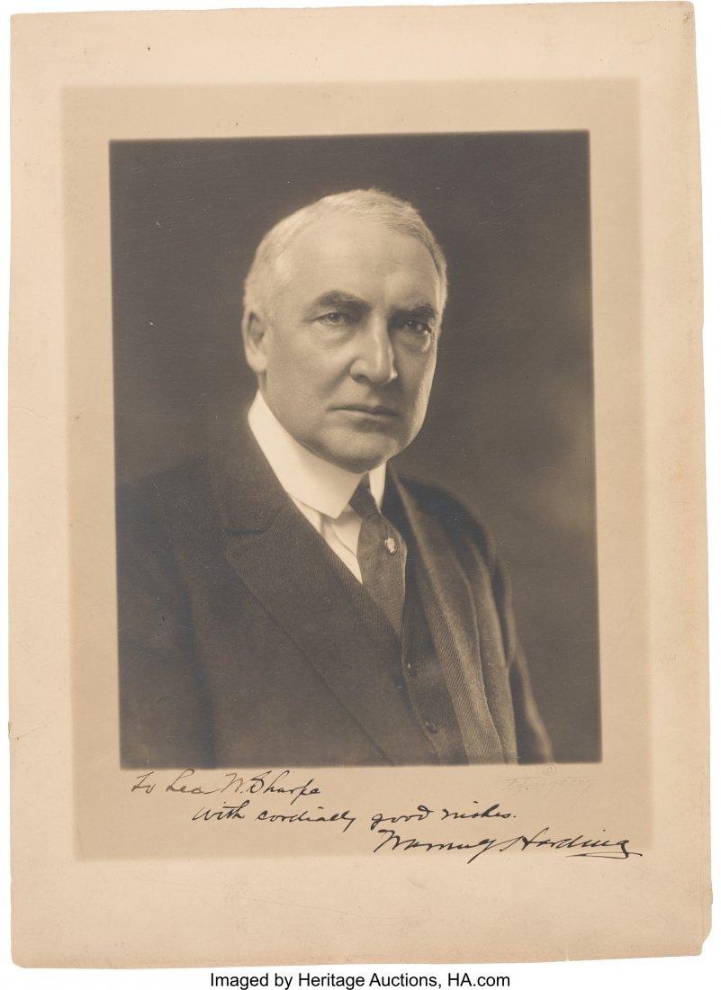 "43544: Warren G. Harding: Signed Studio Portrait. 9.5"""