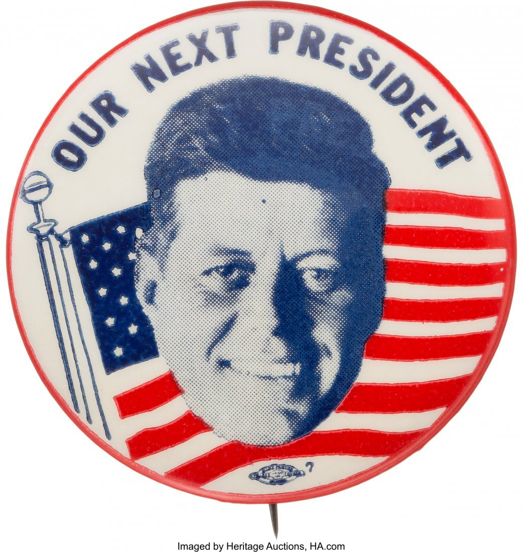 43638: John F. Kennedy: Graphic Picture Pin with Waving