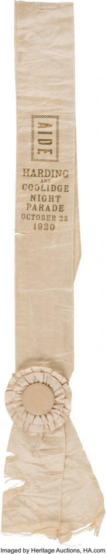 43546: Harding & Coolidge: A Rare Silk Parade Sash. Fir