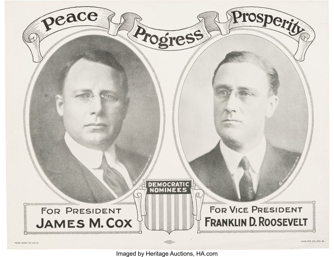 43549: Cox & Roosevelt: 1920 Jugate Campaign Poster.  O