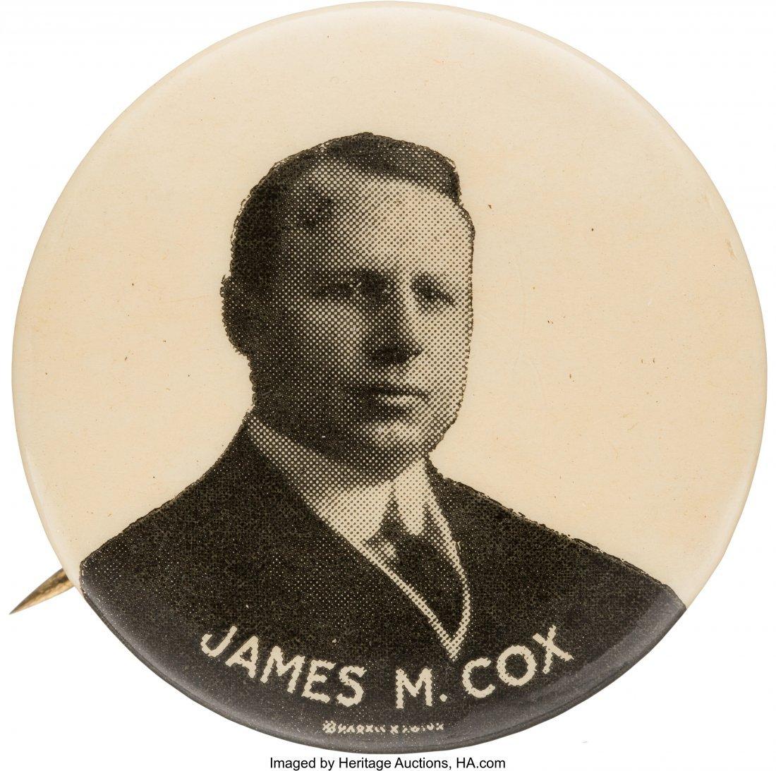 """43551: James M. Cox: Uncommon Picture Pin.  1.25"""" butto"""
