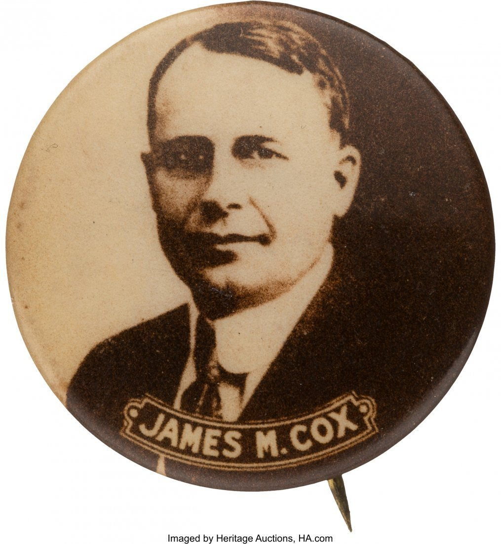 "43552: James M. Cox: Sepia Real Photo Pin. 1"" button wi"