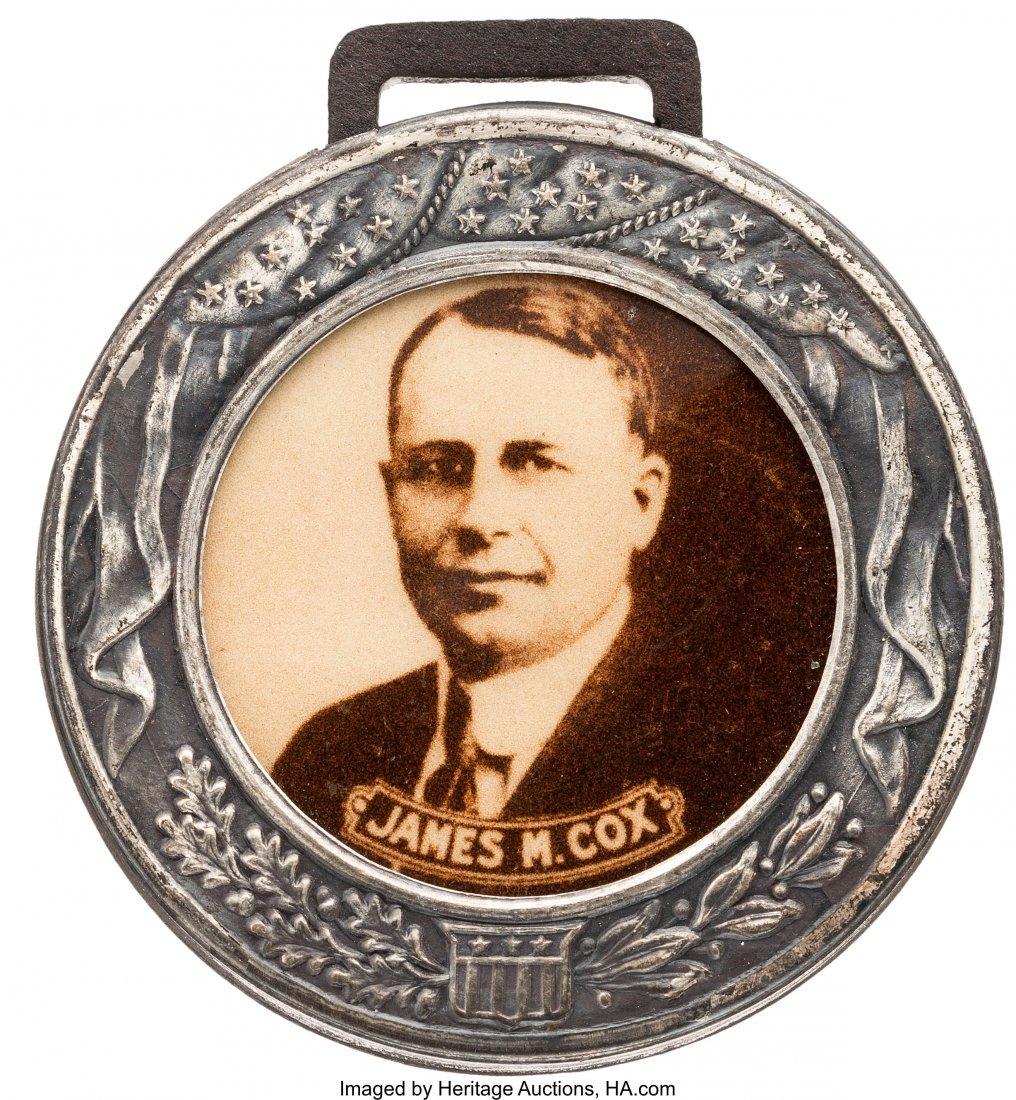 "43553: James M. Cox: Sepia Real Photo Fob. 1 3/8"" silve"