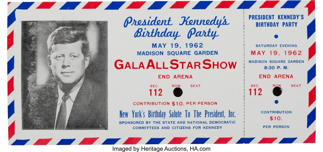43647: John F. Kennedy: Colorful Complete Ticket for hi