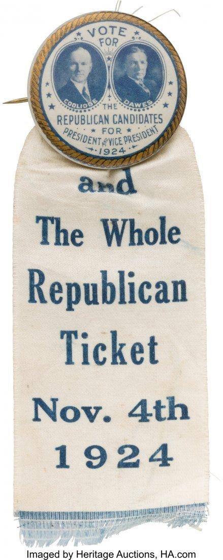 43554: Coolidge & Dawes: Impressive 1924 Badge Featurin