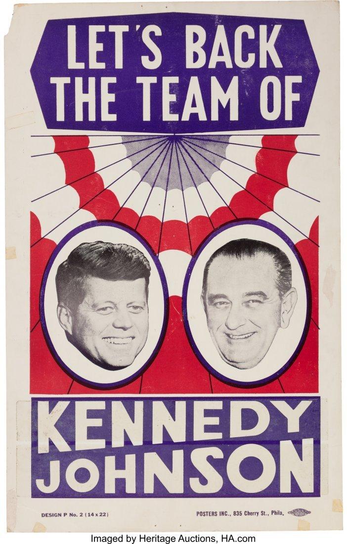 43648: Kennedy & Johnson: Rare Jugate Cardboard Poster.