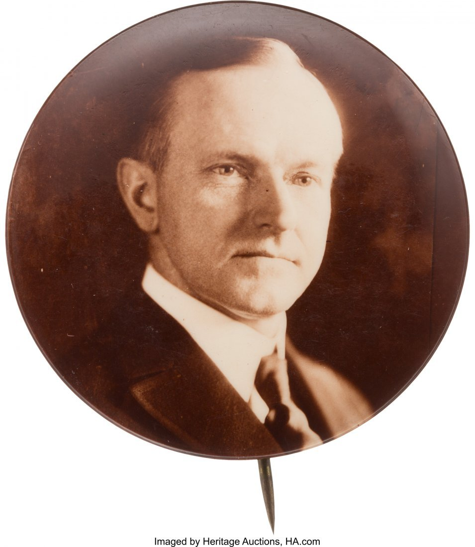 43556: Calvin Coolidge: Deep Sepia Real Photo Button. 1