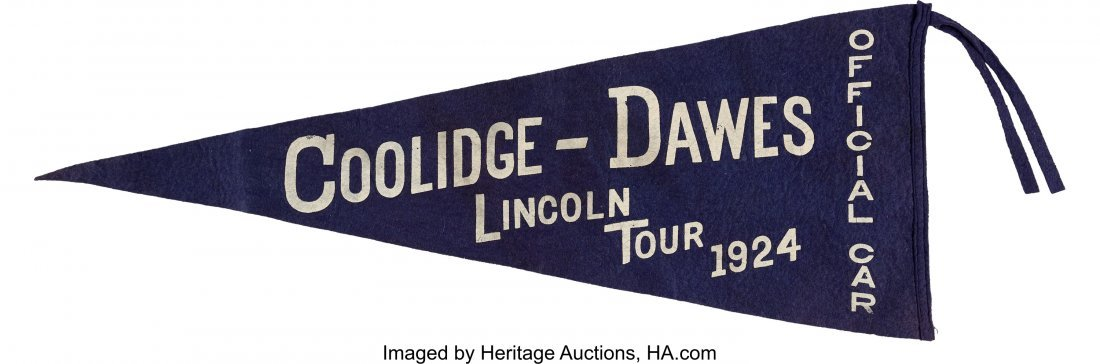 43558: Calvin Coolidge: Large Lincoln Tour Pennant. 28""