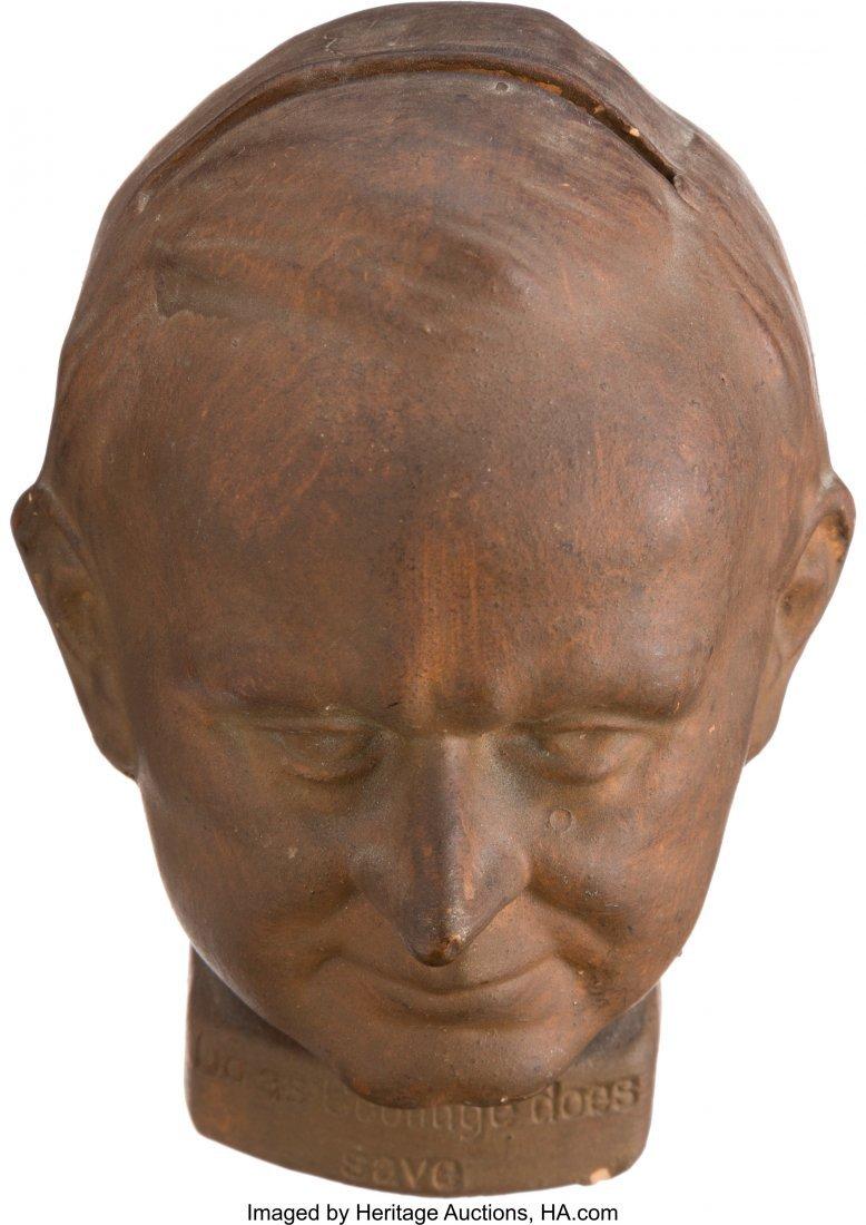 43559: Calvin Coolidge: Figural Redware Still Bank.  4.