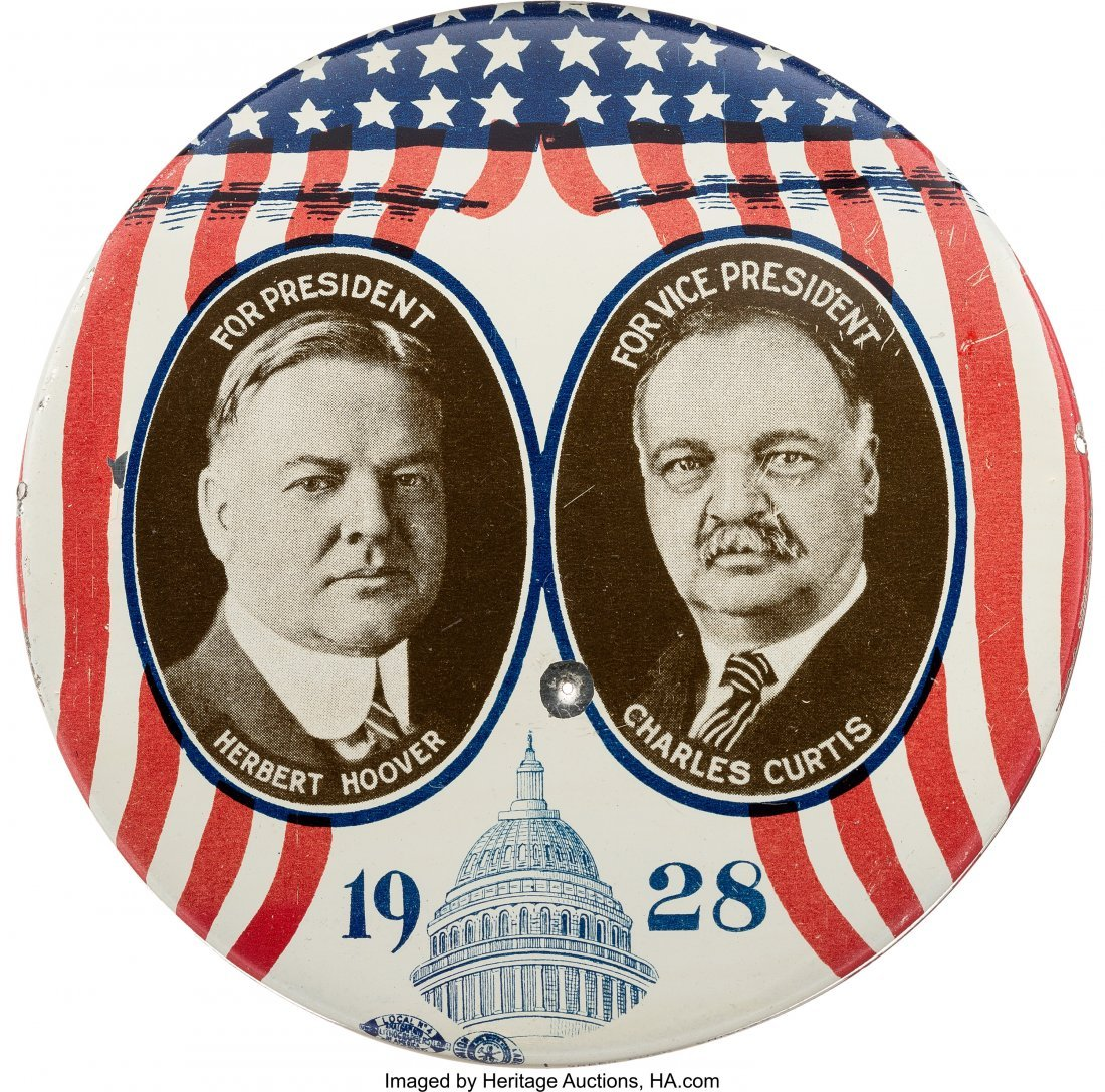 """43563: Hoover & Curtis: Dramatic 4"""" Litho Tin Jugate. T"""