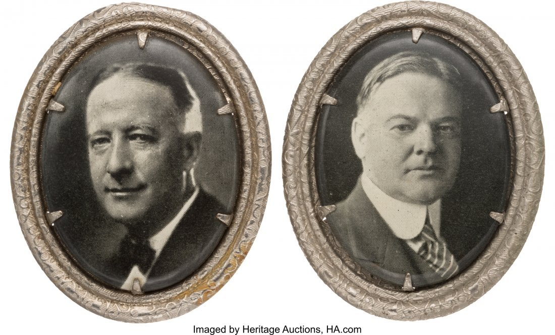 43566: Herbert Hoover and Al Smith: Matching Oval Portr