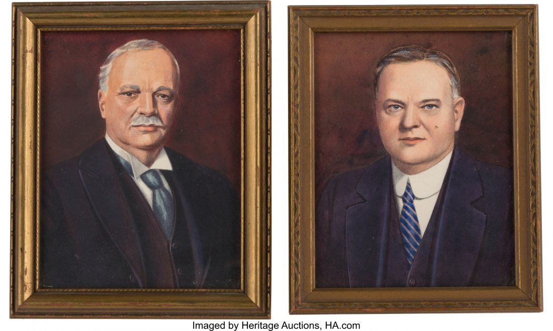 43570: Hoover & Curtis: Pair of Watercolor Portraits Si