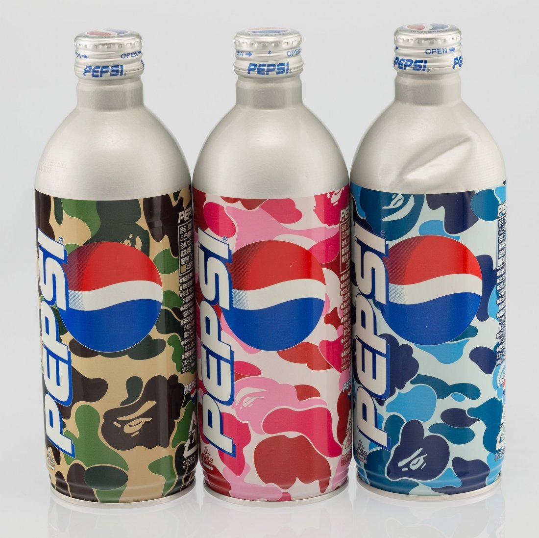 14084: BAPE X Pepsi Set of Three Pepsi Bottles, c. 2002