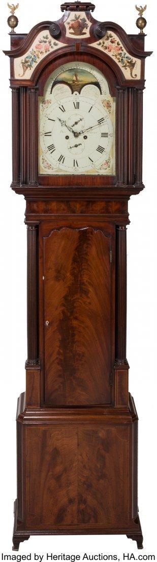 63092: A George III Mahogany Moon-Phase Tall Case Clock