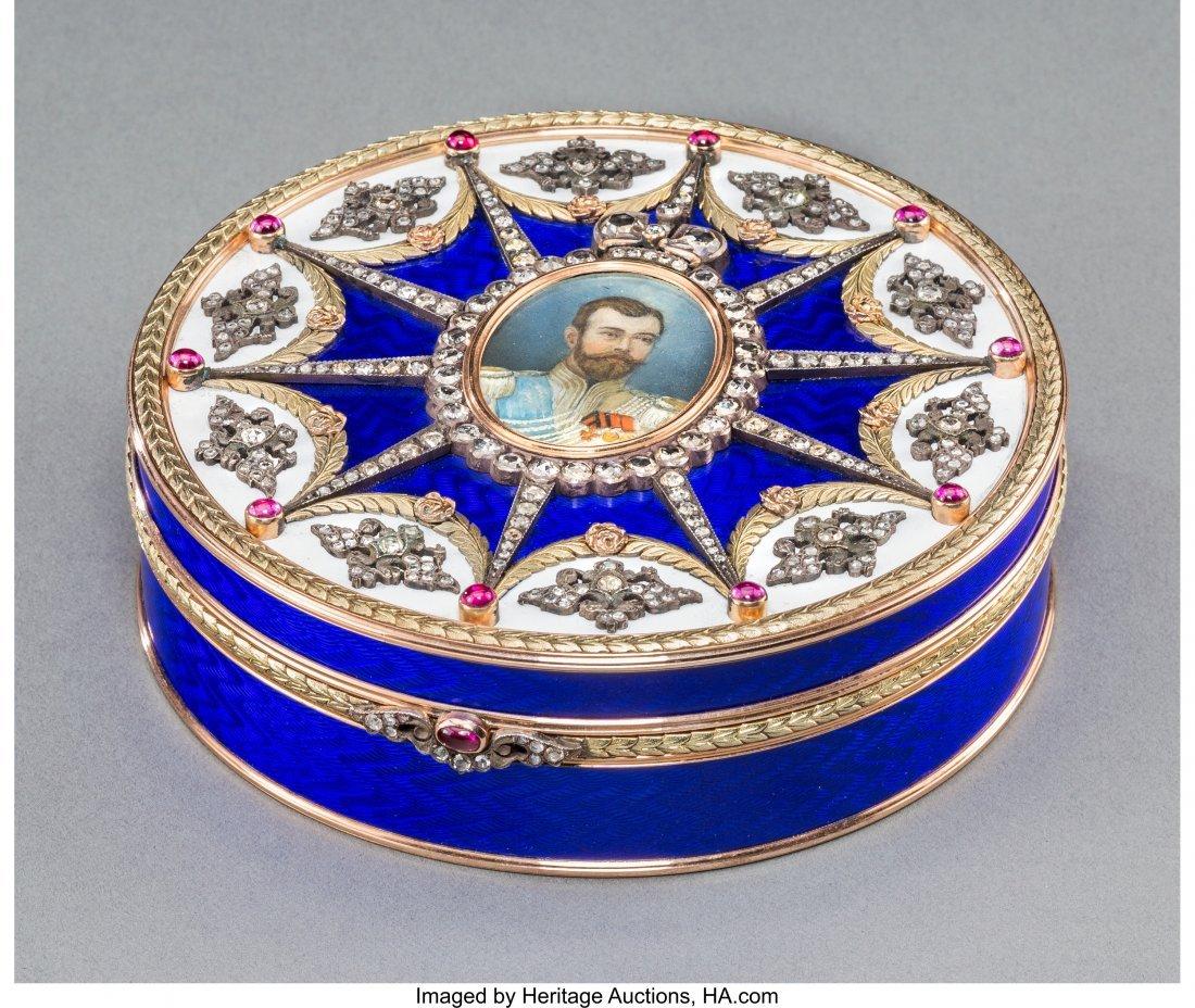 63174: A Fabergé-Style 14K Vari-Color Gold, Diamond, G