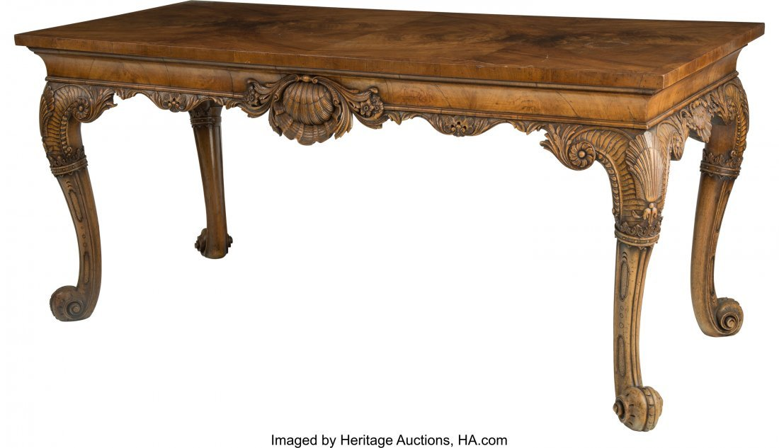 63094: A Large George II-Style Carved Walnut Console Ta
