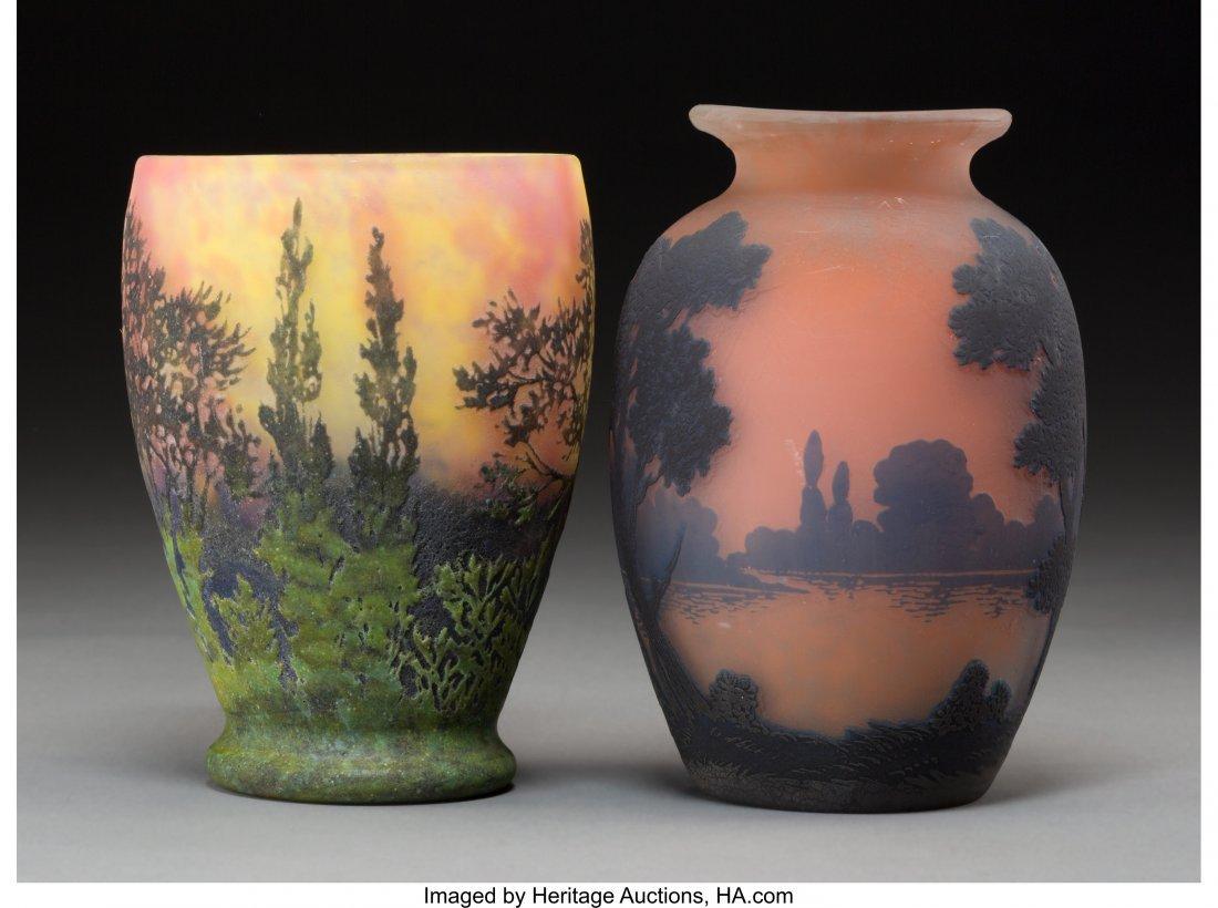 63346: A Daum Pate-de-Verre Landscape Vase with Muller