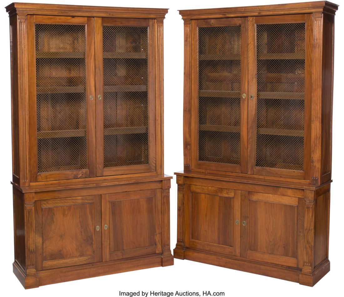 63096: A Pair of English George IV-Style Walnut Bookcas