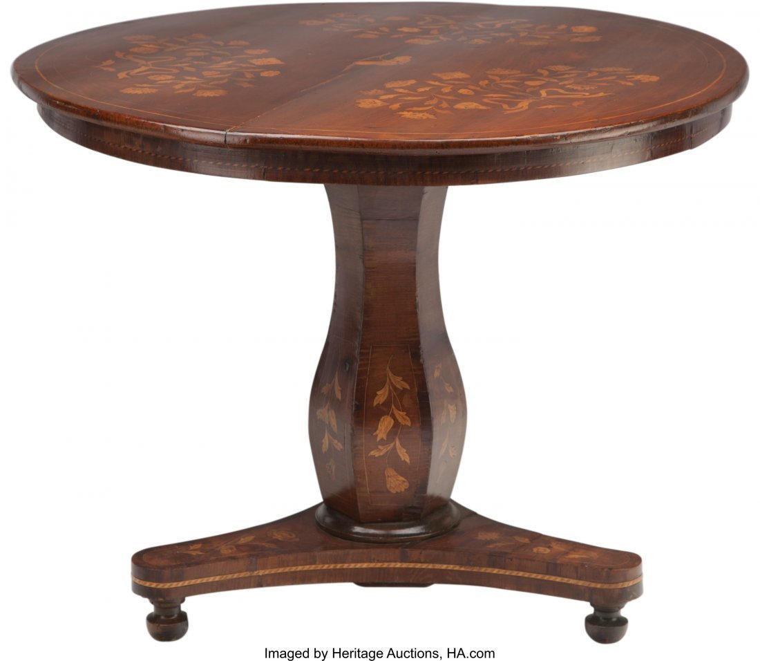 63098: A Dutch Walnut and Fruitwood Marquetry Center Ta