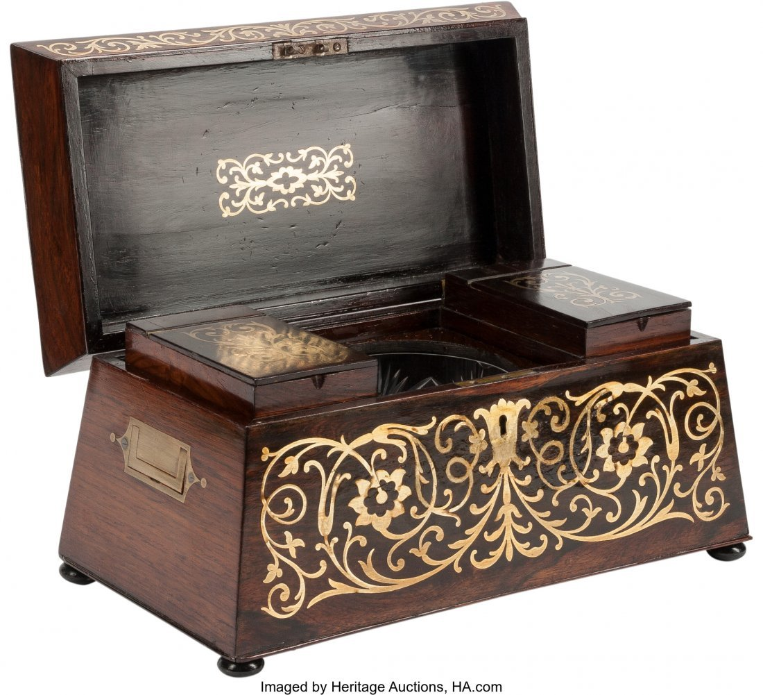 63099: An English Regency-Style Brass Inlaid Tea Caddy  - 2