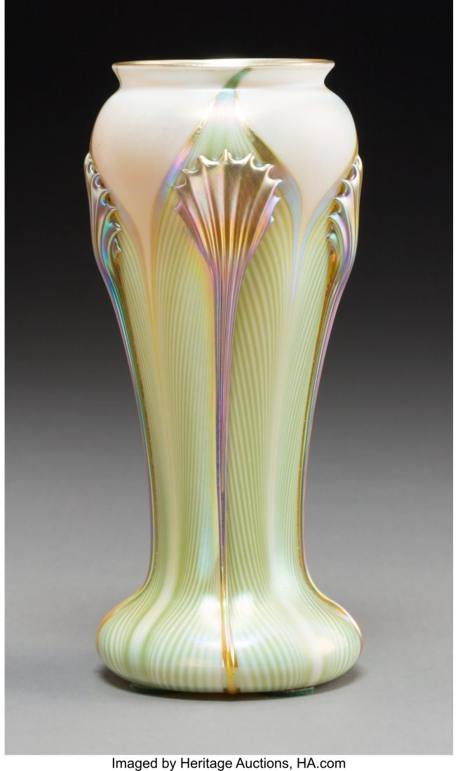 63348: A Quezal Feather-Pulled Iridescent Glass Vase, Q