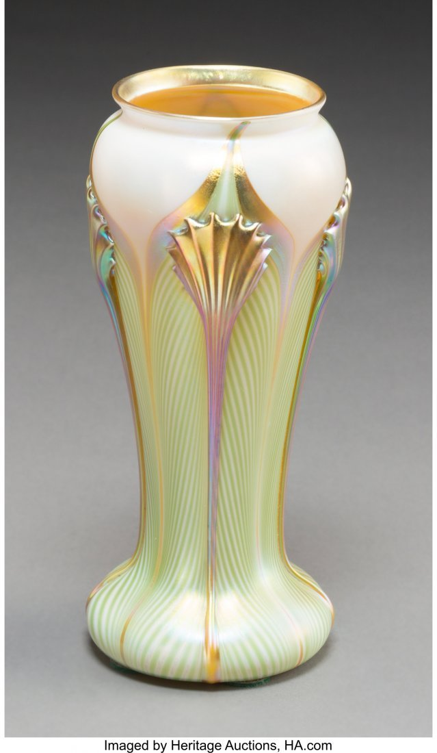 63348: A Quezal Feather-Pulled Iridescent Glass Vase, Q - 2
