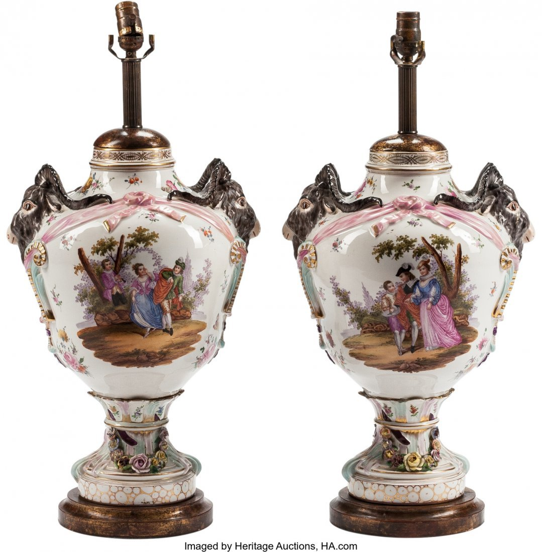 63178: A Pair of German Porcelain Urns Mounted as Lamps