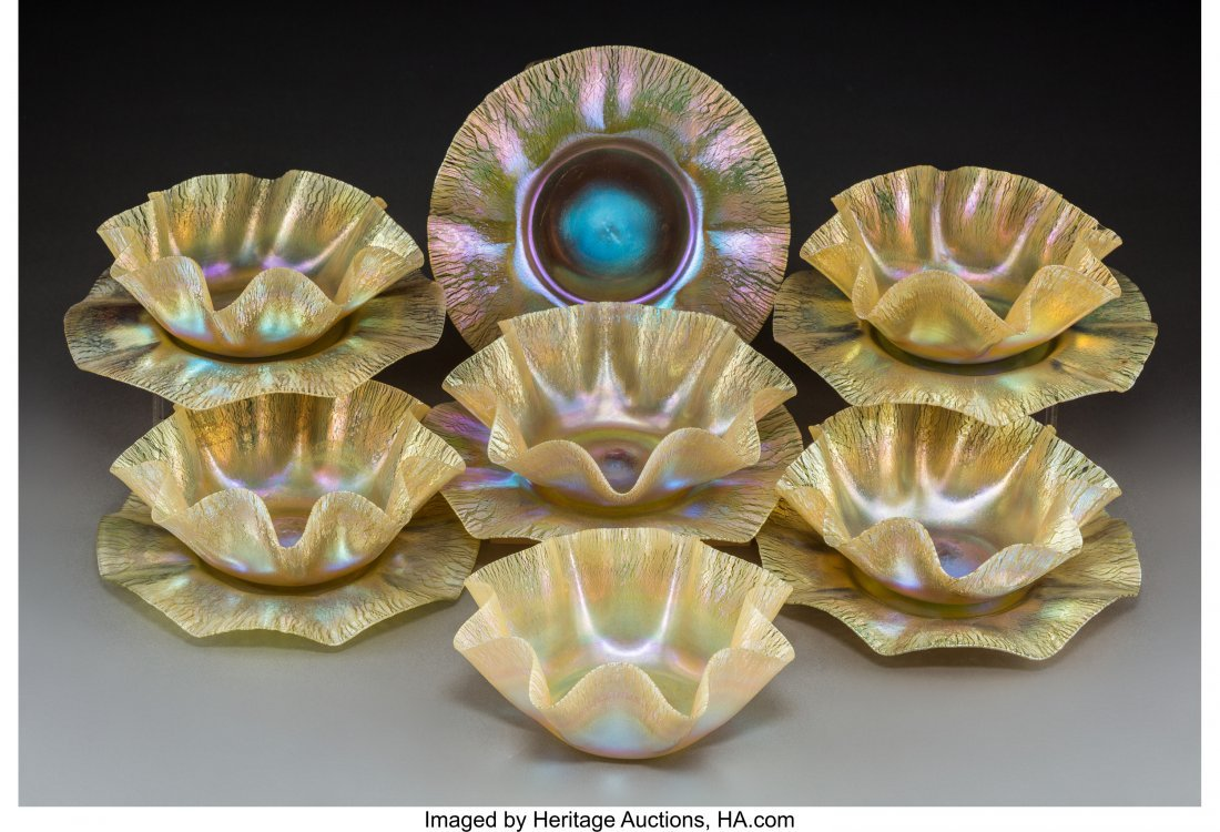 63349: Six Tiffany Studios Gold Favrile Glass Ruffled B