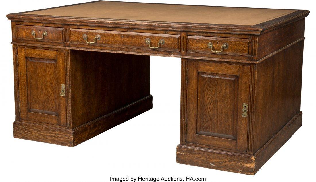 63102: An English George III-Style Oak Partner's Desk,