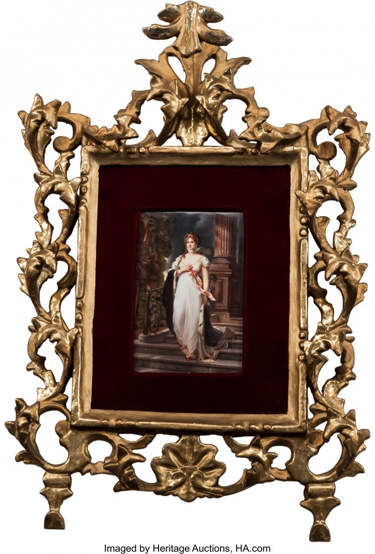 63180: A German Porcelain Plaque of Queen Louise in Gil