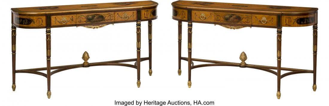 63104: A Pair of Sheraton-Style Mahogany and Paint-Deco