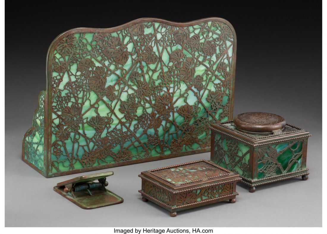 63351: A Four-Piece Tiffany Grapevine Pattern Bronze & - 2