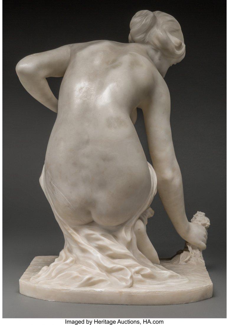 63352: A Carved Carrara Marble Semi-Nude Female Figure: - 2