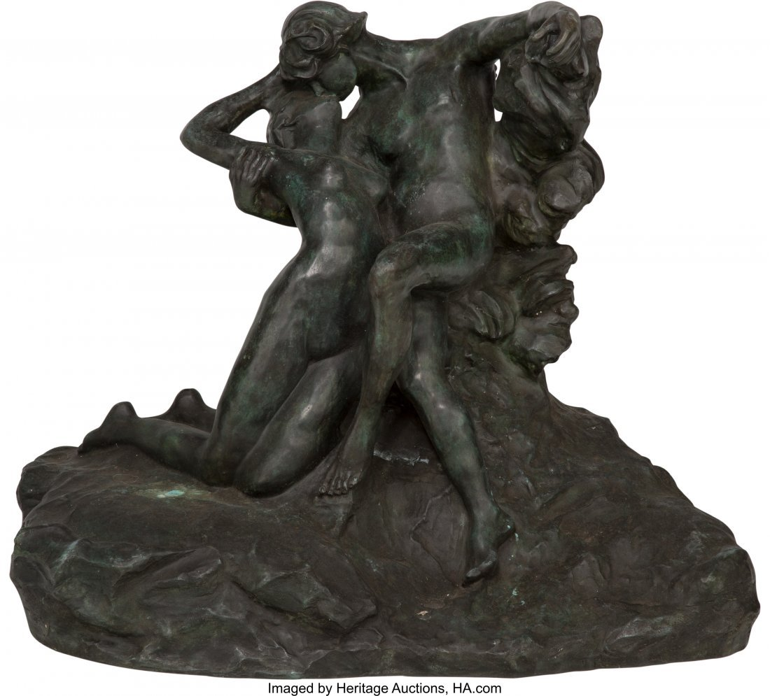 63353: A Large Contemporary Bronze Figural Group Eterna