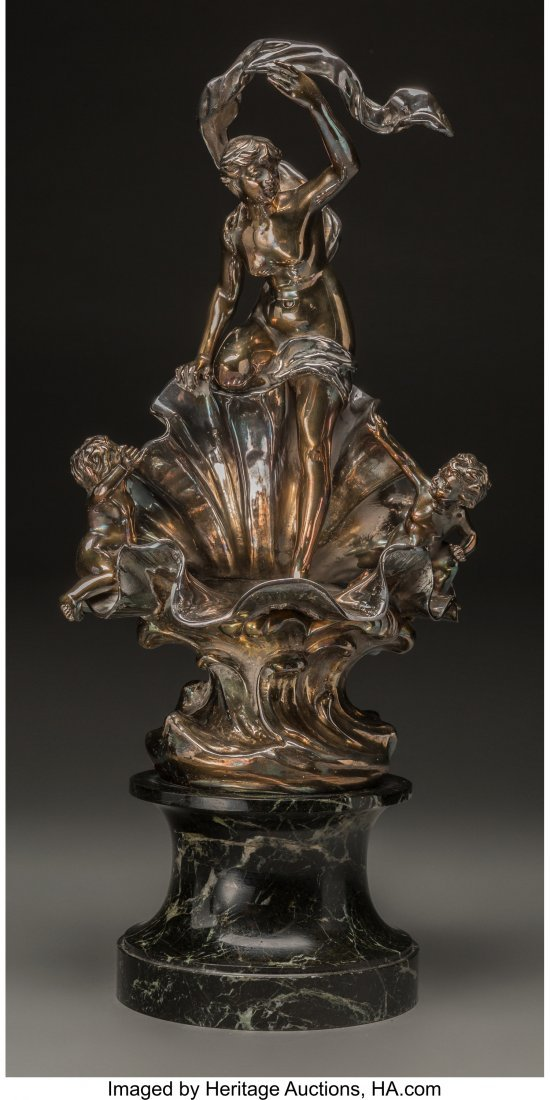 63354: An Art Nouveau Silvered Bronze Figural Group on