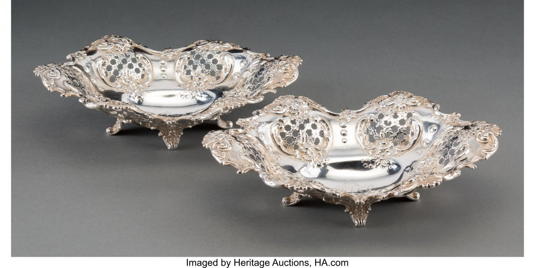 63111: Two Tiffany & Co. Silver Pierced Bon Bon Dishes,