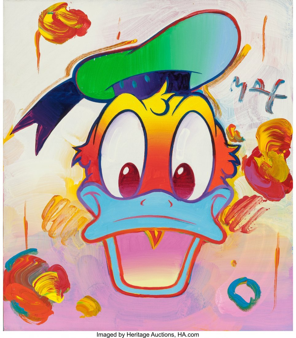 63281: Peter Max (American, b. 1937) Donald Duck Oil on