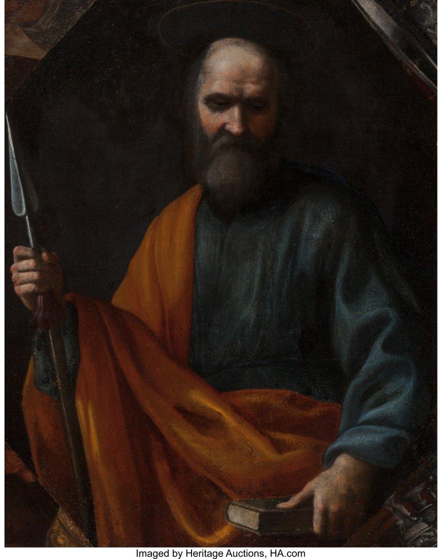 63185: Italian School (17th Century) Saint Thomas Oil o
