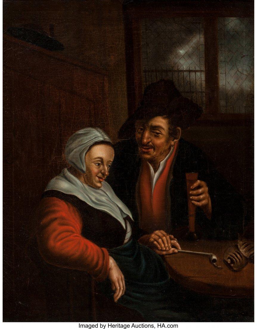 63186: After Adriaen van Ostade  Man Courting Woman Oil