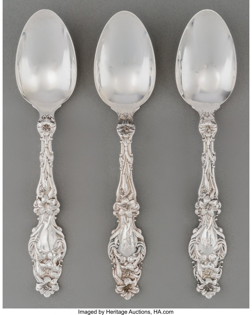 63113: A Thirty-Six Piece Whiting Lily Pattern Silver T