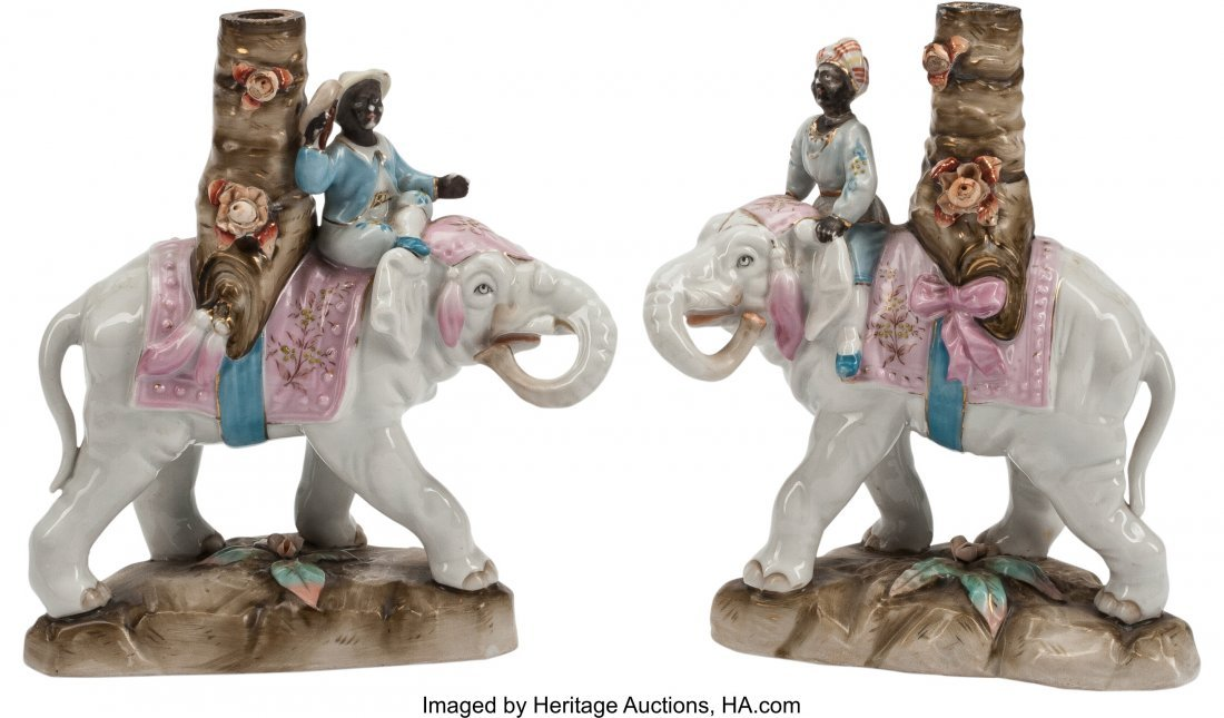 63358: A Pair of Continental Porcelain Figural Elephant
